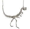 T-Rex Skeleton Necklace -Silver Colored