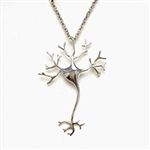 Brain Cell Neuron Necklace -Silver Colored