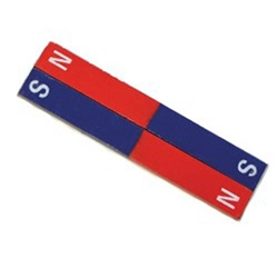 "Steel Bar Magnet Red/Blue 8"" Pair"