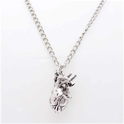 Human Heart Necklace - SIlver Color