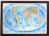 "High Raised Relief Panorama Map of the World 44"" x 32"""