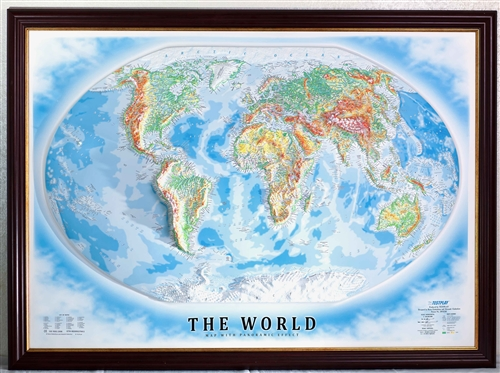 Raised Relief World Map.High Raised Relief Panorama Map Of The World 44 X 32
