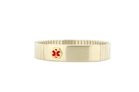 Men's Wide Gold-Plated Expansion Medical ID Bracelet