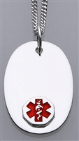 Sterling Silver Medical ID Oval Pendant