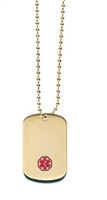 Gold Plated Medical ID Dog Tag