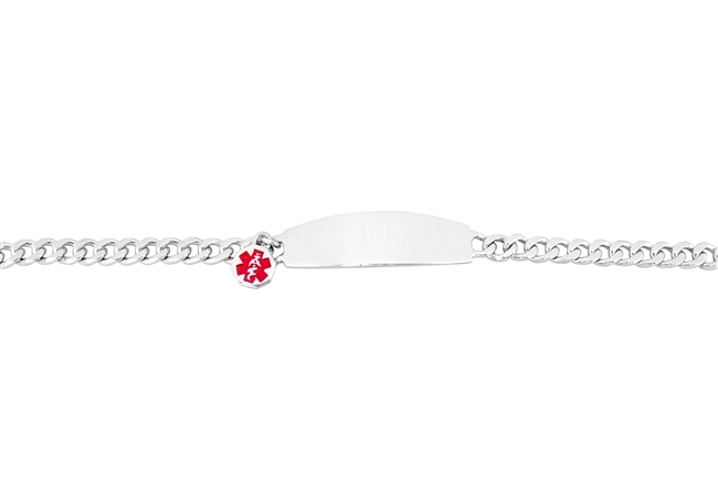 Women's Sterling Silver Medical ID Bracelet with Charm