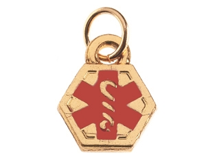 Gold Caduceus Charm