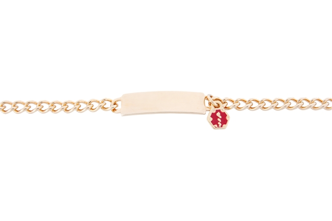 Children's Gold-Plate Link Medical ID Bracelet
