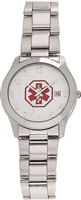Men's Large Stainless Steel Medical ID Watch with Date