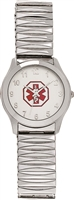 Men's Large Stainless Steel  Medical ID Expansion Watch
