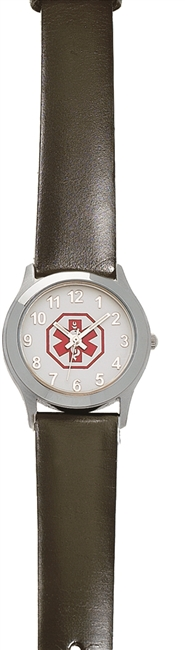 Ladies' and Children's Small Stainless Steel Medical ID Watch with Leather Band