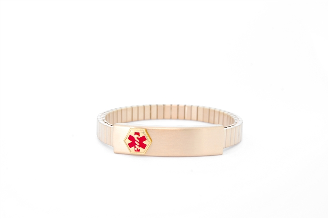 Ladies' Narrow Gold Plated Expansion Medical ID Bracelet