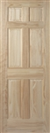 24 inch pine solid core 6 panel door with raised panel and decorative sticking that's ready for paint or stain.