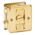 POCKET DOOR LOCK PRIVACY BRASS