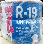 "15""X6.25""x39.2' R-19 UNFACED ROLL INSULATION RU40"