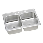 "DOUBLE BOWL STAINLESS STEEL SINK 8"" Deep Bowls 33""w x 22""d"