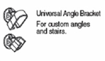 WHITE UNIVERSAL BRACKET REGAL ALUMINUM RAIL UABW
