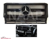 G-WAGON G63  STYLE ALL BLACK GRILLE WITH CHROME STAR W463 1990-2017 G500 G550 G63 G55