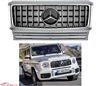 G-WAGON GT STYLE SILVER-CHROME GRILLE WITH CHROME STAR W463 1990-2017 G500 G550 G63 G55