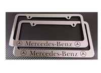 2 Mercedes-Benz Chrome Metal License Plate Frame + Screw Caps
