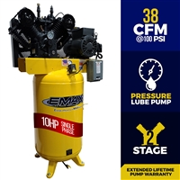 EMAX 10hp Pressure Lubricated Industrial Piston Air Compressor Series