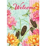 Dragonfly Cattails Decorative Flag