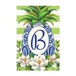 "Pineapple Magnolia Monogram ""B"" Garden Flag"
