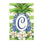 "Pineapple Magnolia Monogram ""C"" Garden Flag"