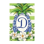 "Pineapple Magnolia Monogram ""D"" Garden Flag"
