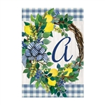 "Lemon Wreath Monogram ""A"" Garden Flag"