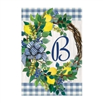 "Lemon Wreath Monogram ""B"" Garden Flag"