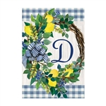 "Lemon Wreath Monogram ""D"" Garden Flag"