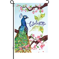 Welcome Peacock Decorative Flag