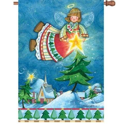 happy christmas angel decorative flag - Decorative Christmas Flags