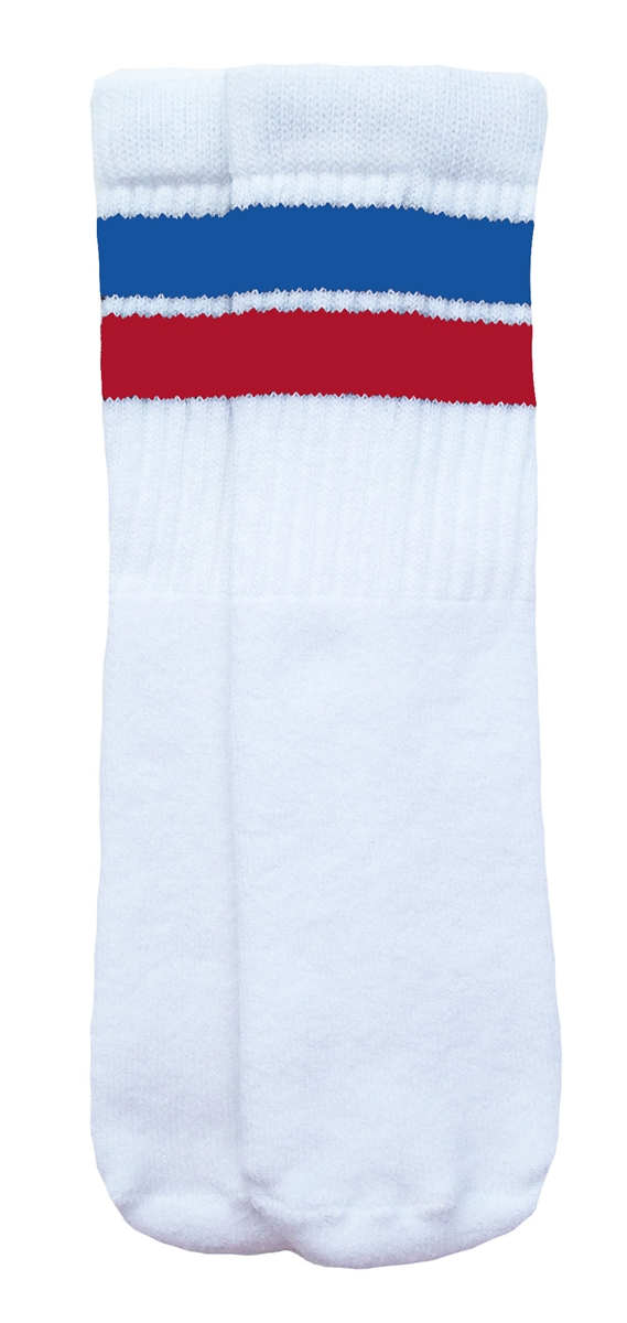 f912a1acf39 Kids White tube socks with Royal Blue-Red stripes