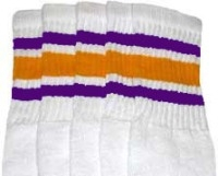 Mid calf socks with Purple-Gold stripes