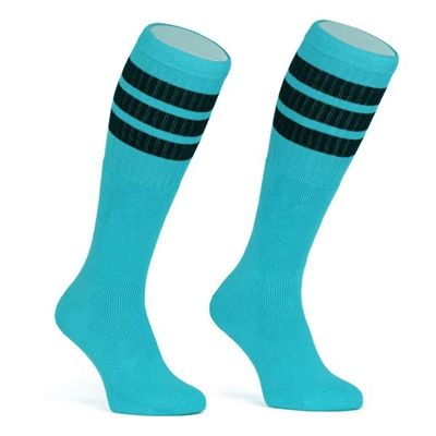 Mid calf AQUA sock with BLACK stripes