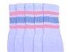 Mid calf socks with Baby Pink-Baby Blue stripes