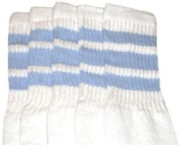 Mid calf socks with Baby Blue stripes