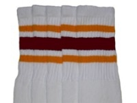 Mid calf socks with Gold-Maroon stripes