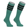 Mid calf TEAL sock with BLACK stripes