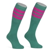 Mid calf TEAL sock with HOT PINK stripes