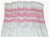 Mid calf socks with Baby Pink stripes