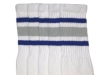 Mid calf socks with Royal Blue-Grey stripes