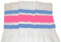 Mid calf socks with Baby Blue-BubbleGum Pink stripes