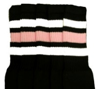 Mid calf socks with White-Baby Pink stripes