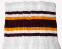Mid calf socks with Maroon-Gold stripes