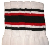 Mid calf socks with Black-Red stripes