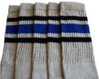 Mid calf Grey socks with Black-Royal Blue stripes