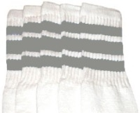 Mid calf socks with Grey stripes